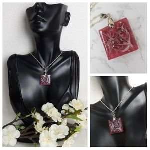 Sparkling Swirl Square Pendant Statement Necklace